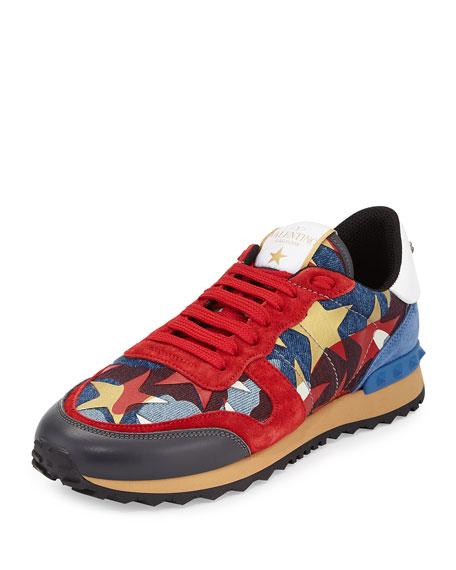 320a0def9e2 Valentino Garavani Rockrunner Star-Studded Leather Sneaker, Multi