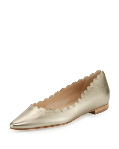 Srilas Scalloped Leather Flat, Alba