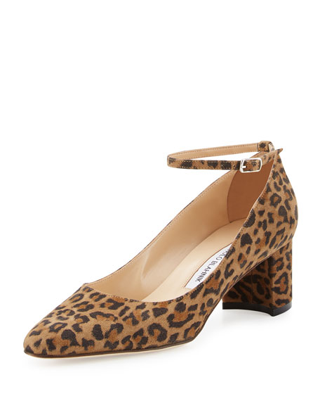 Listony Printed Suede Ankle Strap Pump, Leopardino