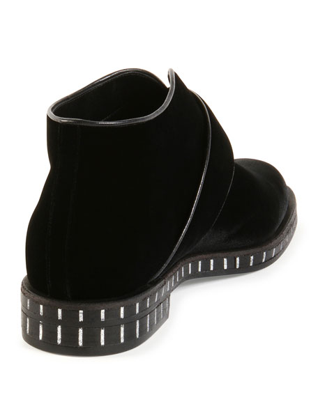 Velvet Round-Buckle Ankle Boot, Black