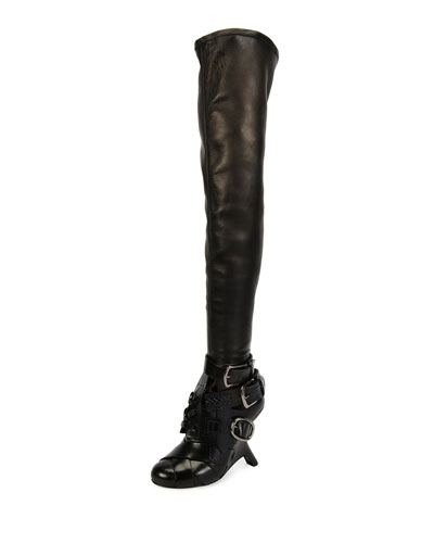Multi-Strap Wedge Over-the-Knee Boot, Black