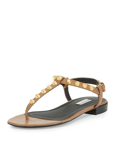 Studded Flat T-Strap Sandal, Marron Glace