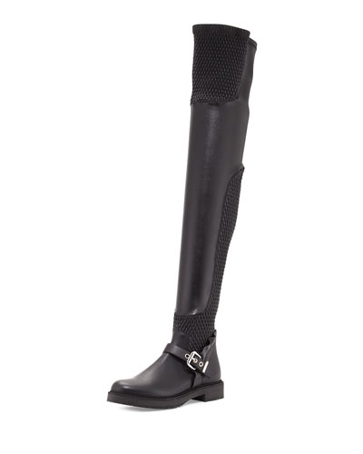 Smocked Leather Over-The-Knee Biker Boot, Nero