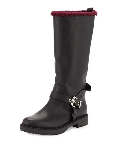 Mid-Calf Moto Boot w/Shearling Fur Lining, Black/Aubergine