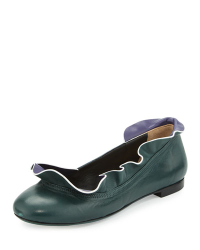 Ruffle-Collar Leather Ballerina Flat, Malachite