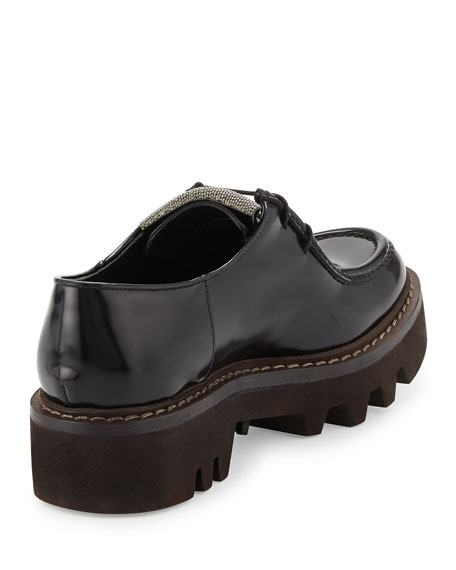 Monili-Beaded Leather Derby Oxford, Black