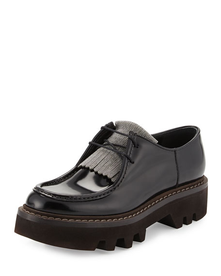 Brunello Cucinelli Monili Leather Oxfords