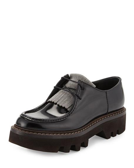 Monili-Beaded Leather Derby Oxford, Black