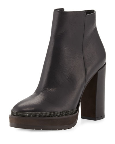 Leather Monili-Trimmed Ankle Boot, Black