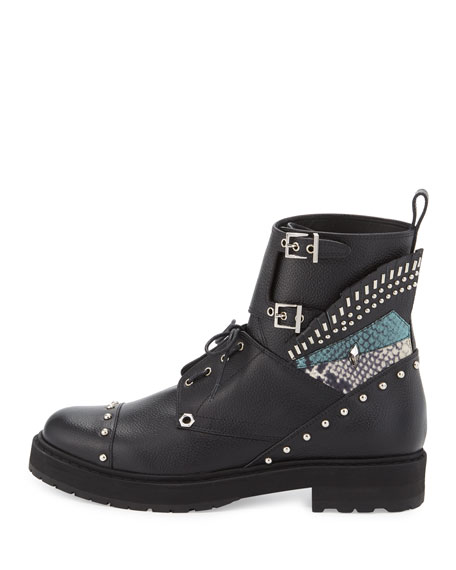 Bug Studded Leather Combat Boot, Black