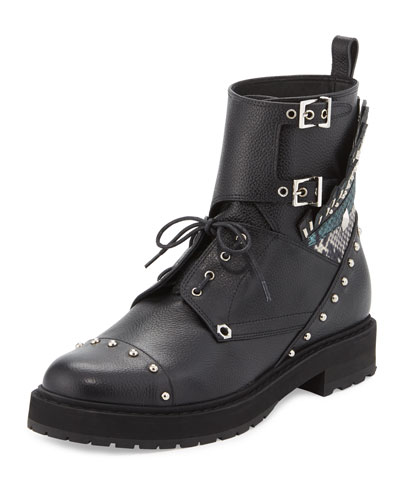 Bug Studded Leather Combat Boot, Black