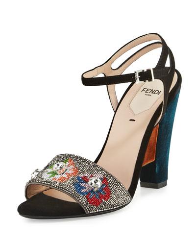 Fantasia Beaded Velvet Sandal, Multi