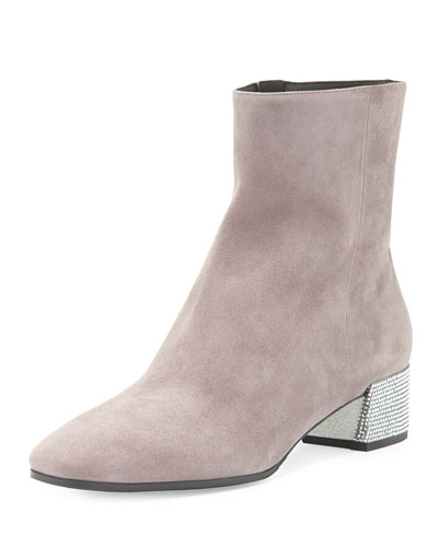 Suede Ankle Boot w/Swarovski Crystal Heel, Gray/Silver