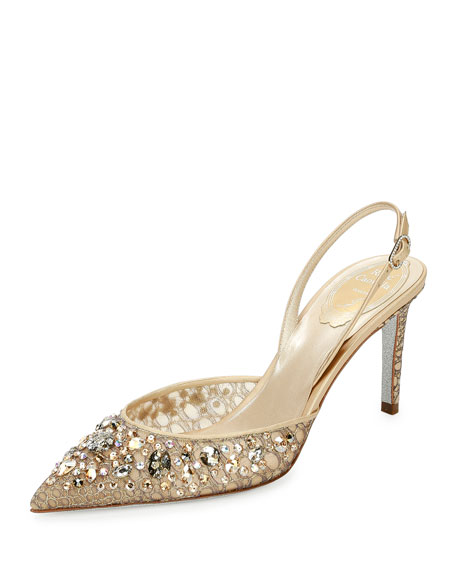 Rene Caovilla Jeweled Lace Slingback 75mm Pump, Gold