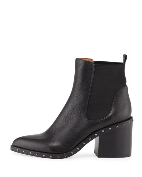 Renee Studded Block-Heel Chelsea Boot, Black