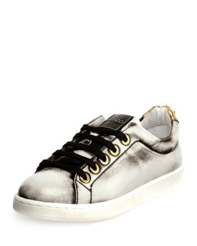 Brushed Metallic Low-Top Sneaker, White
