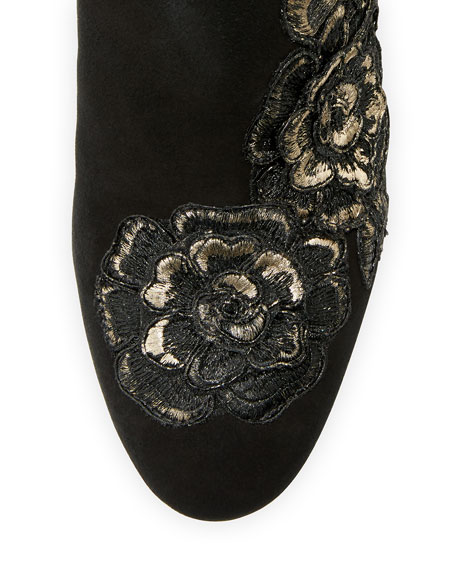 Winona Rose-Embroidered Suede Boot, Black/Rose Gold