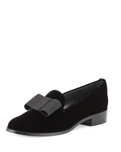 Atabow Velvet Bow Loafer, Black