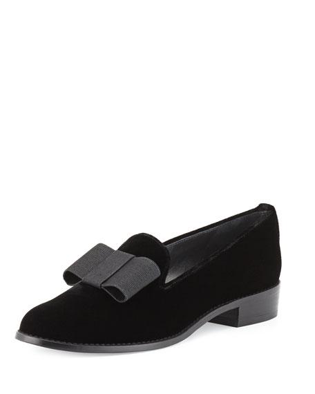 Atabow Velvet Bow Loafer, Black