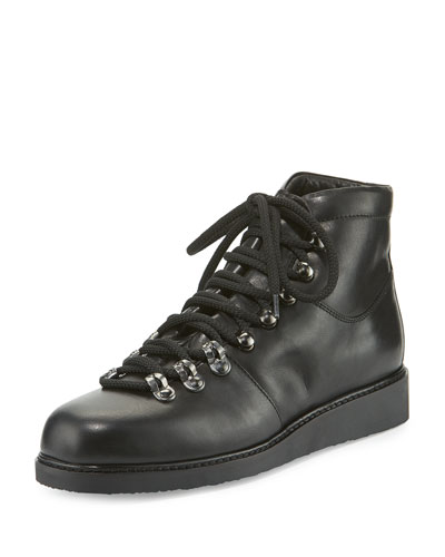 Felisa Lace-Up Leather Combat Boot, Black (Nero)