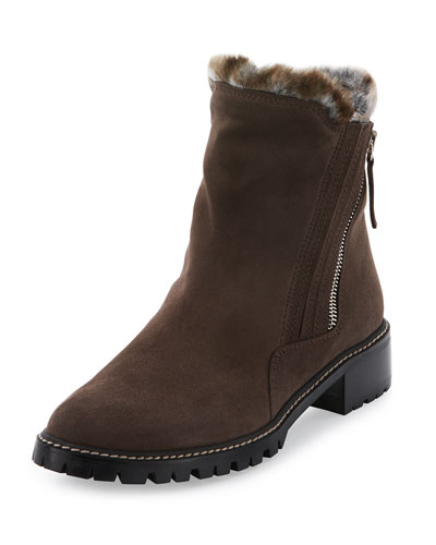 Stormy Faux-Fur Side-Zip Boot, Seal