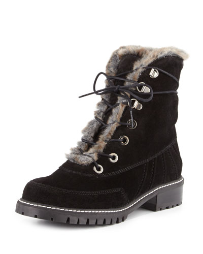 Forest Faux-Fur Lace-Up Boot, Grigio