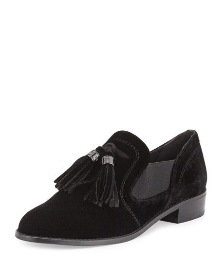 Stuart Weitzman Ohboy Velvet Tassel Loafer, Black