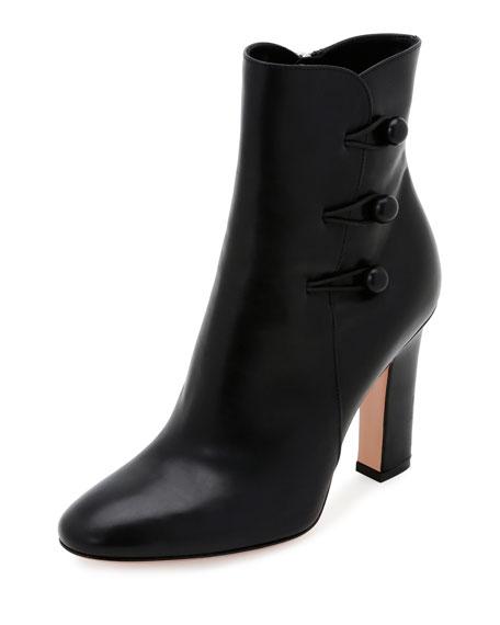 Gianvito Rossi Leather Side-Button Ankle Boot, Black (Nero)