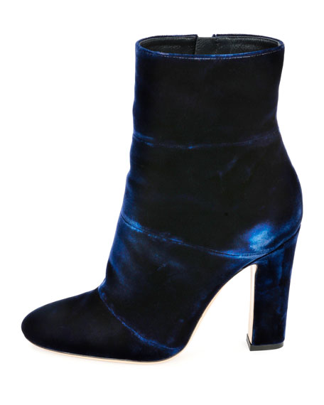 Velvet 105mm Ankle Boot, Denim