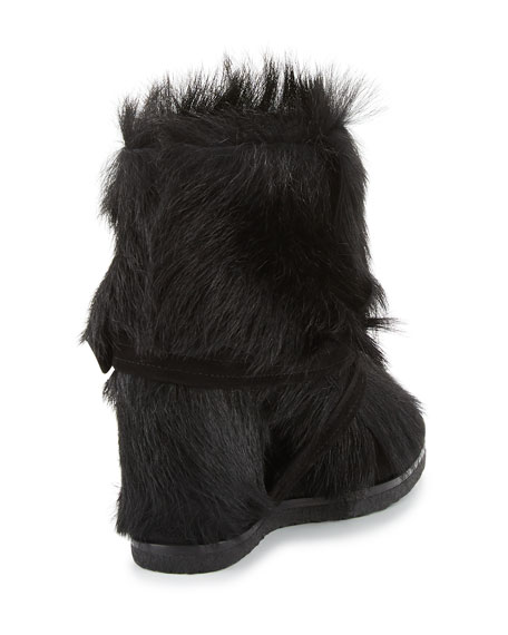 Flat Fur Ankle Boot, Black