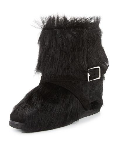 Flat Fur Ankle Boot, Black