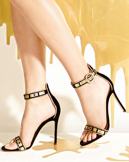 Embroidered Velvet Portofino Sandal, Black Glam