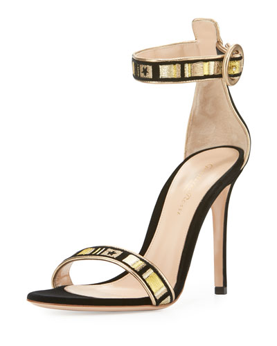 Embroidered Velvet Portofino Sandal, Black Glam