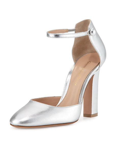 Gianvito Rossi Metallic Mary Jane d'Orsay Pump, Silver