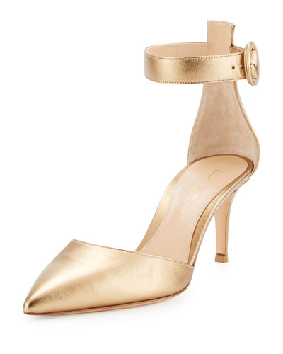 Metallic Ankle-Strap d'Orsay Pump, Glam