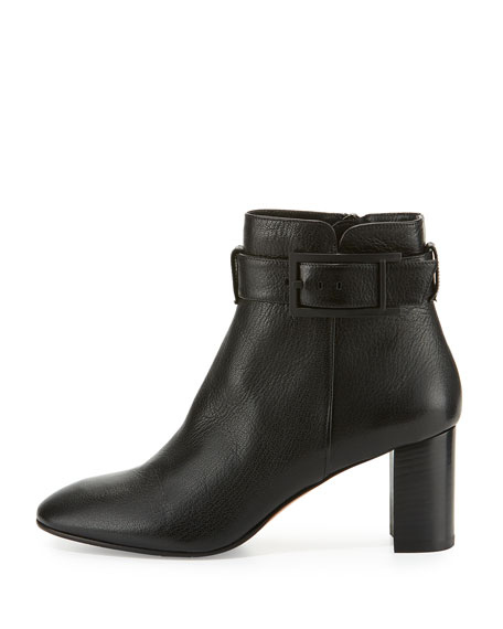 Vanie Leather Ankle-Strap Boot, Black