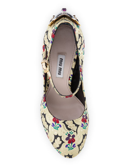 e5ba00ecf90b Miu Miu Embellished Brocade Mary Jane Pump