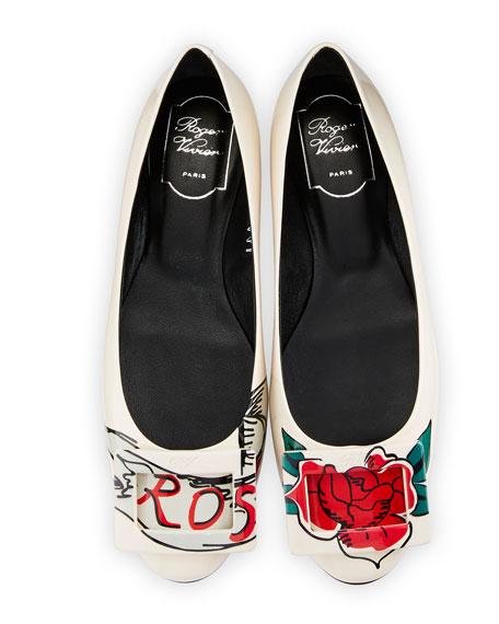 Gommette Tattoo Rose Ballerina Flat, White