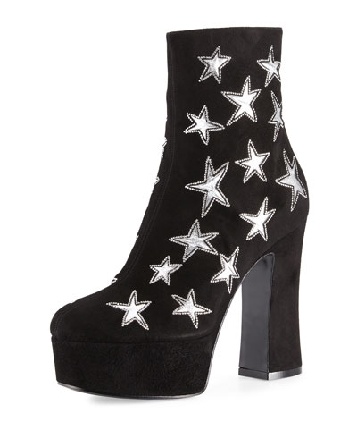Candy Star-Embroidered Suede Platform Boot, Black/Silver