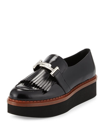 Double-T Bit-Strap Kiltie Loafer, Black