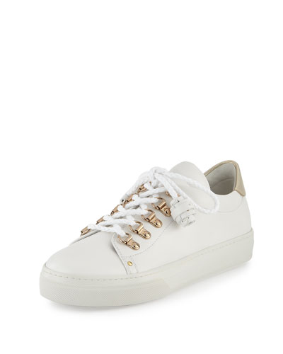Flat Leather Hiking Sneaker,White