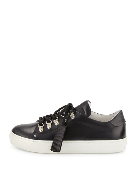 Flat Leather Hiking Sneaker, Black