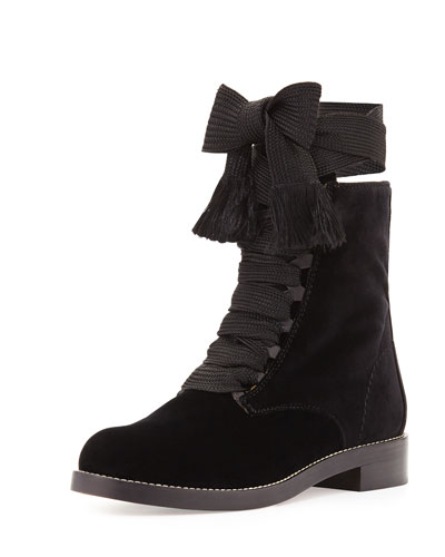 Harper Lace-Up Velvet Ankle Boot, Black