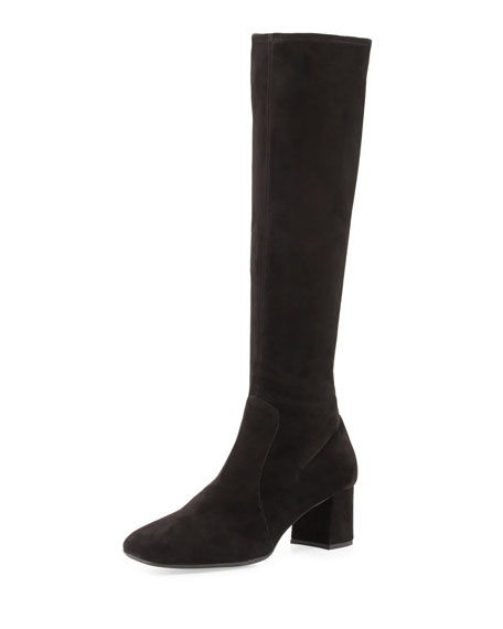 Image 1 of 1: Stretch-Suede Knee Boot