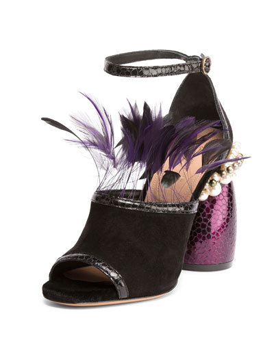 Suede Sandal w/Feather Trim, Black/Purple