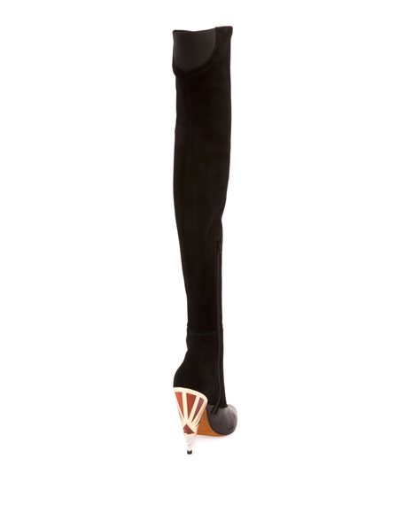 Podium Suede Enamel-Heel Over-The-Knee Boot, Black
