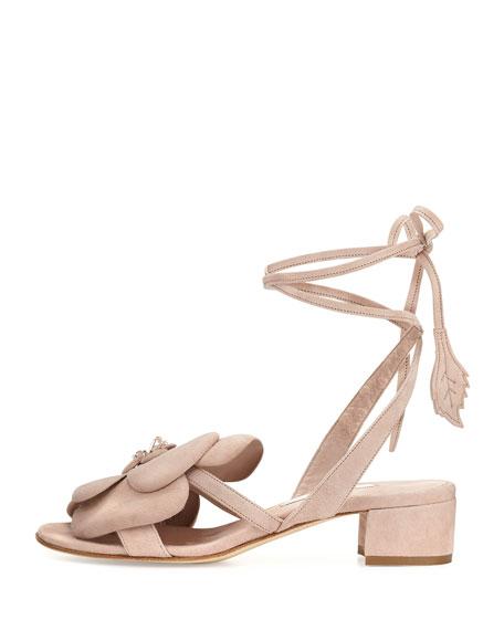 Dahlia Suede Ankle-Wrap Sandal