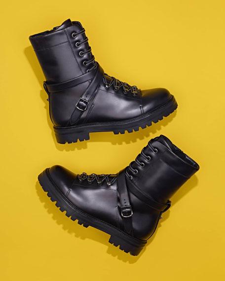 3b427b9b215 Valentino Rockstud Leather Combat Boot, Black (Nero)