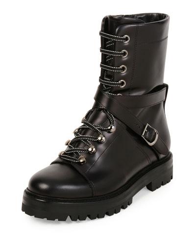 Rockstud Leather Combat Boot, Black (Nero)