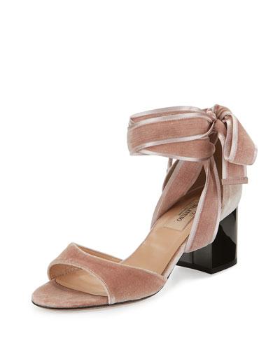 Ballet Fever Velvet Ankle-Wrap Sandal, Poudre/Ruthenium
